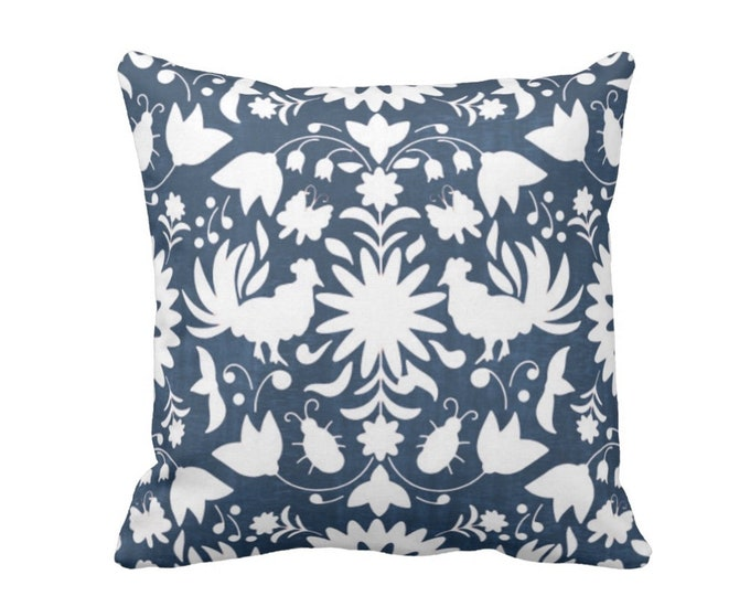 """SALE - OUTDOOR Otomi Throw Pillow Cover, Navy/White 16"""" Sq Pillow Covers, Blue Mexican/Boho/Floral/Animals/Nature Print"""