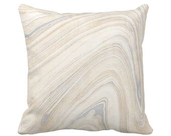 "OUTDOOR Marble Print Throw Pillow or Cover, Beige/Gray 16, 18 or 20"" Sq Pillows or Covers Marbled/Abstract/Modern/Wave/Swirl Pattern"