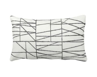 "Charcoal Broken Geo Print Throw Pillow or Cover 14 x 20"" Lumbar/Oblong Pillows or Covers, Dark Gray/Grey Painted Geometric/Abstract/Lines"