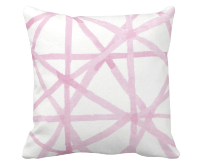 "OUTDOOR Painted Lines Throw Pillow or Cover, White/Pink 16, 18, 20"" Sq Pillows or Covers, Pinks Modern/Lines/Starburst/Geometric/Geo Print"