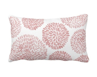 """Watercolor Chrysanthemum Throw Pillow/Cover, Adobe/White 14 x 20"""" Lumbar Pillows/Covers, Dusty Pink Abstract/Modern/Floral/Flower Print"""