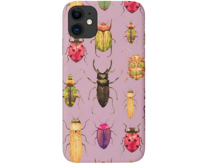 Beetle Print iPhone 11, XS, XR, X, 7/8, 6/6S P/Plus/Max Snap Case or TOUGH Protective Cover Purple/Pink/Green/Yellow Insect/Bug/Bugs/Beetles