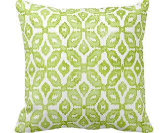 "OUTDOOR Wasabi Ikat Print Throw Pillow Cover 20"" Sq Pillows/Covers, Green/White Geometric/Diamond/Trellis/Geo/Tribal"