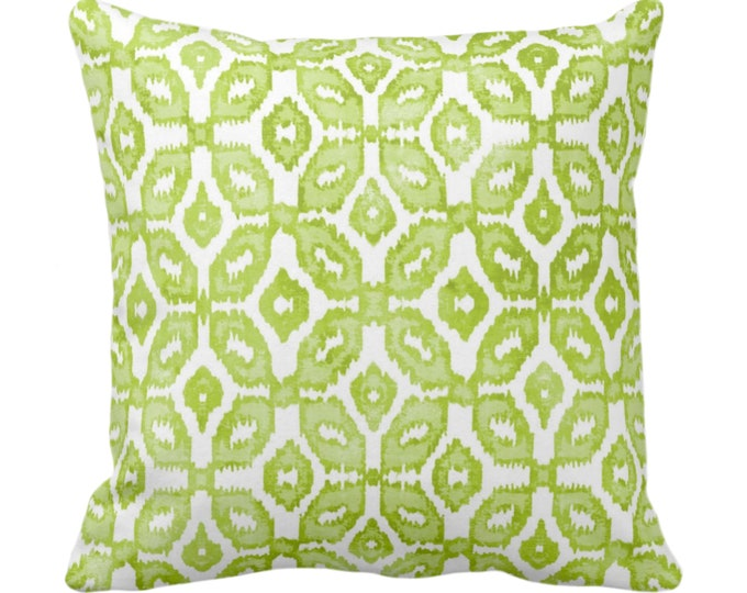 "OUTDOOR Wasabi Ikat Print Throw Pillow or Cover 16, 18, 20, 26"" Sq Pillows or Covers Green/White Geometric/Diamonds/Dots/Diamond/Trellis"