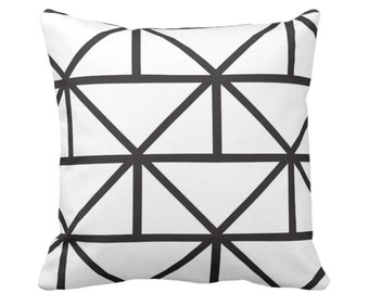 "OUTDOOR Geometric Throw Pillow or Cover, Modern Black/White Print 16, 18 or 20"" Square Pillows or Covers, Geo/Lines/Triangles/Diamonds"