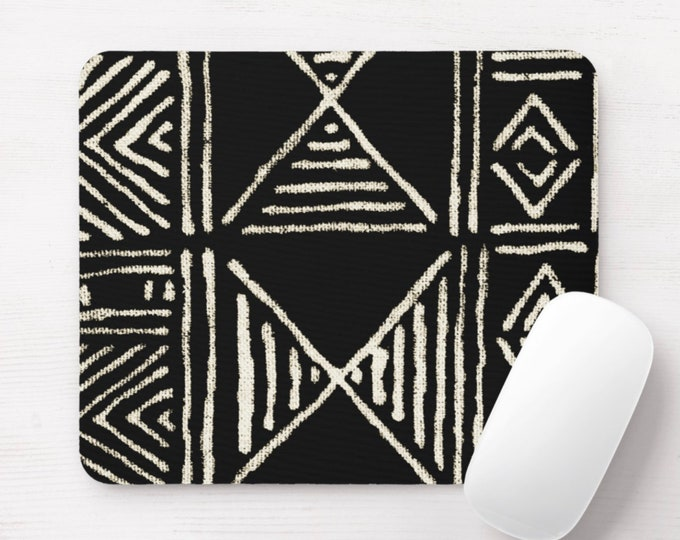 Mud Cloth Print Mouse Pad/Mousepad, Black & Off-White Mudcloth/Tribal/African/Boho/Geometric/Geo/Diamond Pattern/Design Neoprene Mousepads