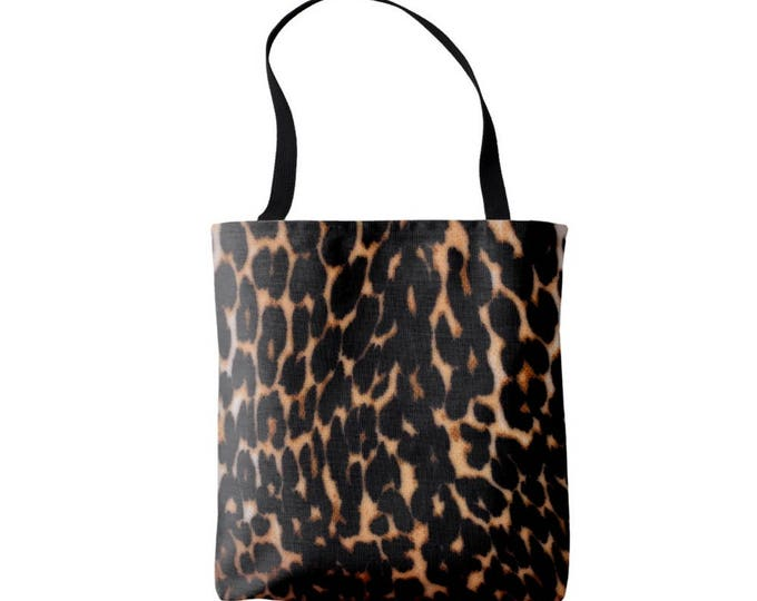 Leopard Print Market Tote, Black and Brown Boho Animal Print Bag, Faux Fur Printed Pattern