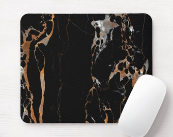 Black Veined Marble Mouse Pad, Marbled Mousepad, Minimal/Modern Print/Pattern, Beige/Gray Veins, Stone Design