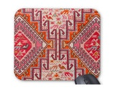 Kilim Print Mouse Pad Mousepad, Nature Animal in Coral, Red and Orange, Southwest