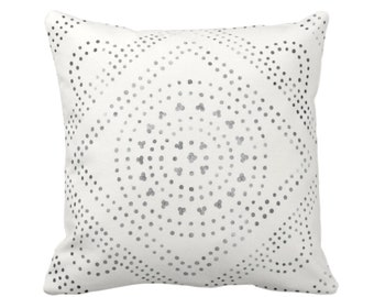 "OUTDOOR Batik Diamond Medallion Print Throw Pillow or Cover, Off-White/Gray/Black 16, 18, 20, 26"" Sq Pillows/Covers, Geo/Boho/Tribal/Hmong"