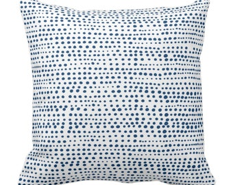 """OUTDOOR Dot Line Throw Pillow or Cover Navy Blue/White Print 14, 16, 18, 20, 26"""" Sq Pillows/Covers Dots/Lines/Geometric/Geo/Modern/Farmhouse"""