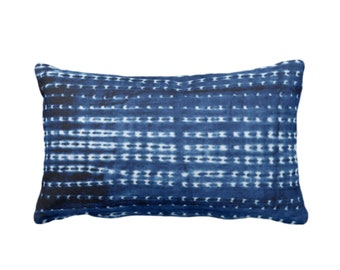 """Indigo Mud Cloth Printed Throw Pillow or Cover, Lines/Dots 14 x 20"""" Lumbar Pillows or Covers, Bright Blue Mudcloth/Tribal/Boho/African/Geo"""