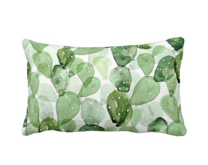 "Watercolor Cactus Throw Pillow or Cover, Green & White 14 x 20"" Lumbar Pillows or Covers, Succulent/Southwest, Olive/Sage/Light"