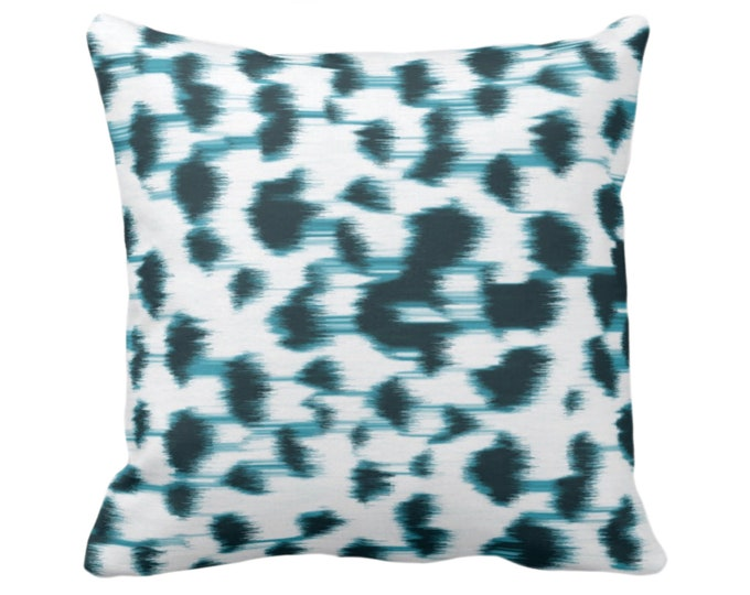 """Ikat Abstract Animal Print Throw Pillow or Cover 14, 16, 18, 20, 26"""" Sq Pillows/Covers, Teal Blue/White Spots/Spotted/Dots/Dot/Geo/Painted"""