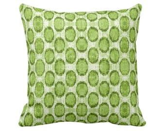 "OUTDOOR Ikat Ovals Print Throw Pillow or Cover 14, 16, 18, 20, 26"" Sq Pillows/Covers, Kiwi Green Geometric/Dots/Geometric/Geo/Boho Pattern"