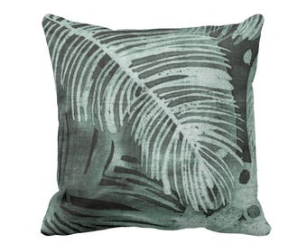 "Tropical Leaves Print Throw Pillow or Cover, Kale 16, 18, 20 or 26"" Square Pillows or Covers, Batik/Watercolor Dark Dusty Green"
