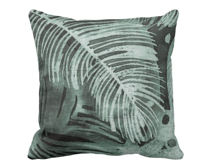 """Tropical Leaves Print Throw Pillow or Cover, Kale 16, 18, 20 or 26"""" Square Pillows or Covers, Batik/Watercolor Dark Dusty Green"""