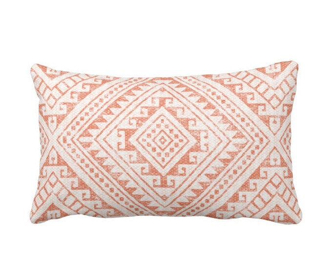 "OUTDOOR Diamond Geo Throw Pillow or Cover, Coral 14 x 20"" Lumbar Pillows/Covers, Dusty Adobe/Melon Geometric/Batik/Geo/Tribal Print"