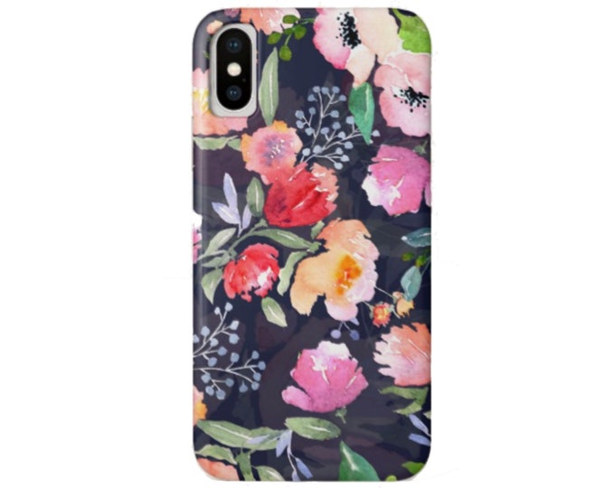 Navy Floral iPhone 11, XS, XR, X, 7/8, 6/6S Pro/Max/P/Plus Snap Case or Tough Protective Cover, Colorful Watercolor/Retro Flowers Pattern