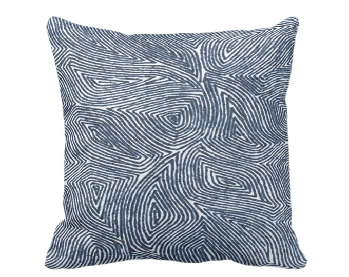 """Sulcata Geo Throw Pillow or Cover, Navy & White 16, 18, 20 or 26"""" Sq Pillows/Covers, Dark Blue Abstract Geometric/Tribal/Lines/Wavy/Boho"""