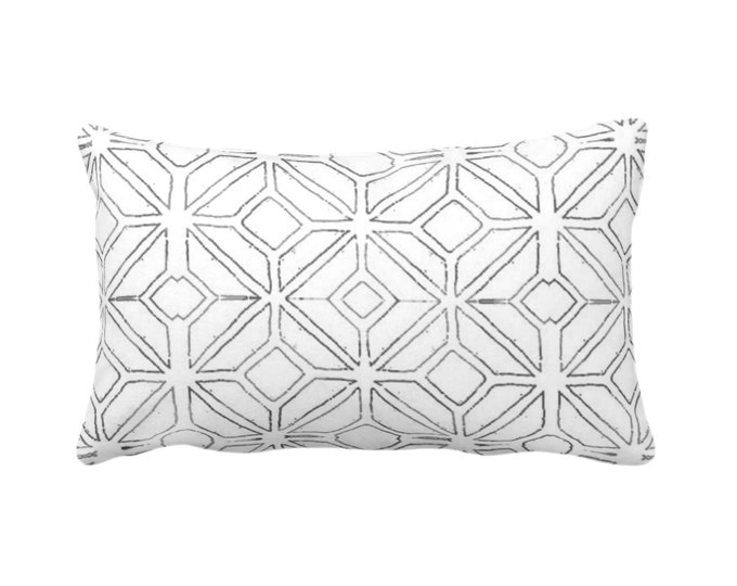 "OUTDOOR Tribal Trellis Throw Pillow/Cover, Charcoal/White 14 x 20"" Lumbar Pillows/Covers, Gray Geo/Geometric/Diamond/Triangle Print/Pattern"