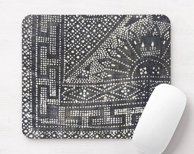 Gray Batik Print Mouse Pad/Mousepad, Thai Miao Chinese Minority Hill Tribe