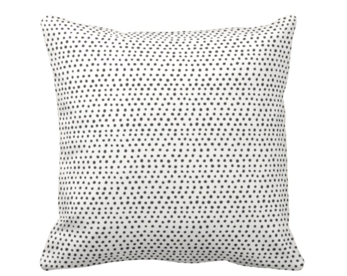 """Allover Dots Throw Pillow or Cover, Black & Ivory Print 16, 18, 20 or 26"""" Sq Pillows or Covers, Gray/Ebony/Off-White Scatter Dot/Geometric"""