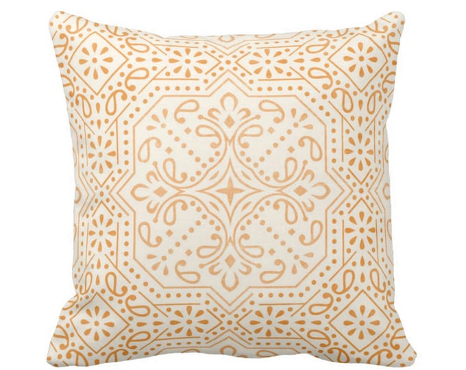 "Tile Print Throw Pillow or Cover, Mustard 14, 16, 18, 20, 26"" Sq Pillows or Covers, Golden Yellow/Off-White Trellis Geometric/Batik Pattern"