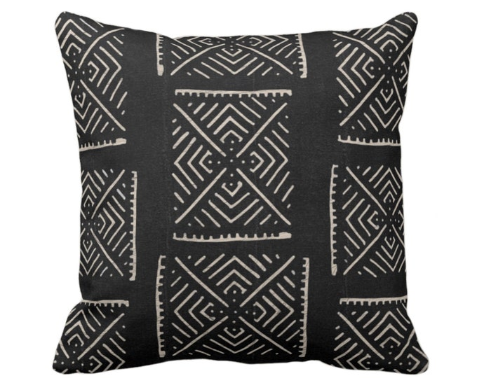"""OUTDOOR Mud Cloth Print Throw Pillow or Cover, Diamond Geo Black/Off-White 16, 18 or 20"""" Sq Pillows/Covers, Mudcloth/Boho/X/Tribal/Design"""
