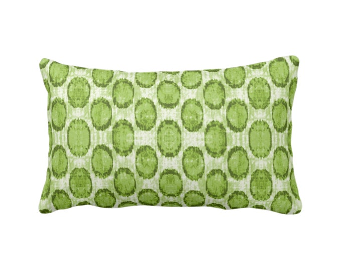 "Ikat Ovals Print Throw Pillow or Cover 14 x 20"" Lumbar/Oblong Pillows or Covers, Kiwi Green Geometric/Circles/Dots/Dot/Geo/Polka Pattern"
