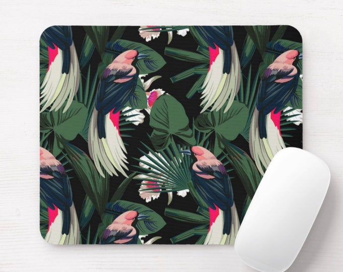Jungle Print Mouse Pad, Black, Green, Pink, Red Flowers & Birds Print Mousepad, Palm/Palms/Tropical/Leaves/Botanical/Exotic Bird