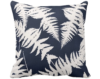 """OUTDOOR Fern Silhouette Throw Pillow or Cover, Navy/Ivory 14, 16, 18, 20 or 26"""" Sq Pillows/Covers, Dark Blue Leaves/Modern/Botanical Print"""