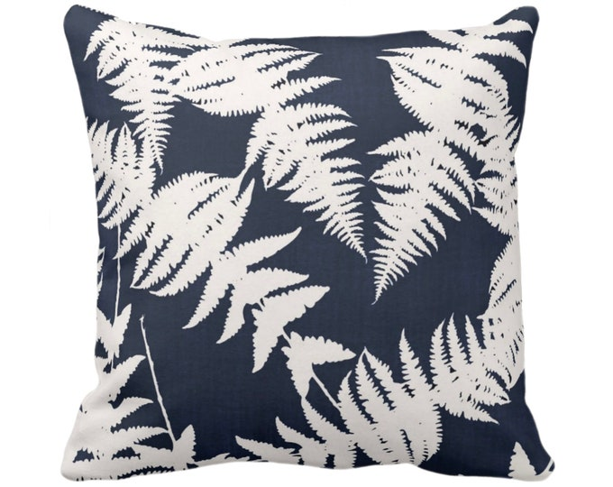 """OUTDOOR Fern Silhouette Throw Pillow or Cover, Navy/Ivory 16, 18, 20"""" Sq Pillows or Covers, Dark Blue Leaf/Leaves/Modern/Botanical Print"""