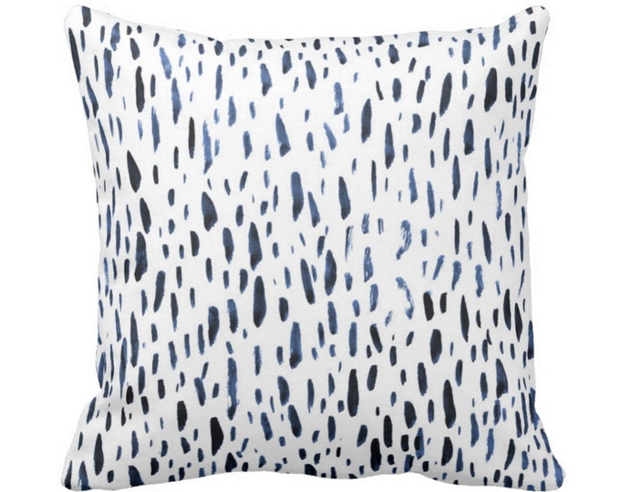 """OUTDOOR Hand-Painted Dashes Throw Pillow or Cover, Navy/White 16, 18 or 20"""" Sq Pillows or Covers Blue Dot/Dots/Speckled/Splatter Print"""