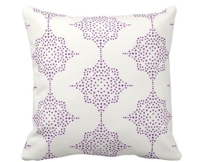 """OUTDOOR Block Print Stars Throw Pillow or Cover, Purple & Ivory 16, 18 or 20"""" Sq Pillows or Covers, Geometric/Geo/Blockprint/Star Pattern"""