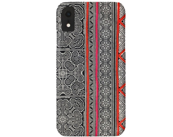 Batik Dark Indigo iPhone 11, XS, XR, X, 7/8, 6/6S Pro/Max/Plus/P Snap Case or TOUGH Protective Cover, Print/Printed Hill Tribe Pink/Orange