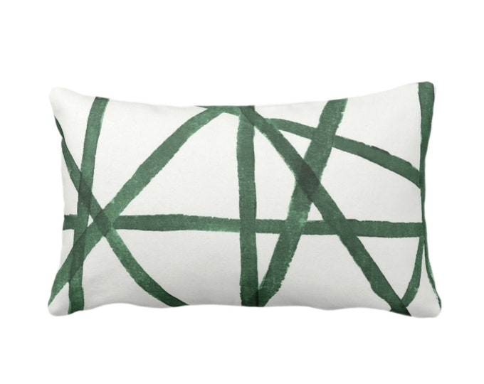 "Hand-Painted Lines Throw Pillow or Cover, Kale/White 14 x 20"" Lumbar Pillows or Covers Abstract/Channels/Stripes Green Print"