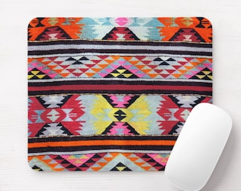 Colorful Southwest Rug Print Mouse Pad, Sunset Colors, Geometric/Bright Colors Mousepad, Mexican
