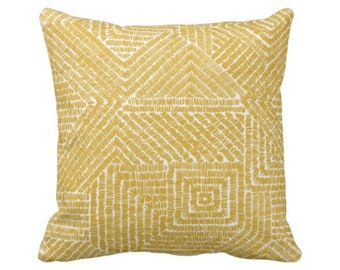 "OUTDOOR Tribal Geo Throw Pillow or Cover, Citron 16, 18 or 20"" Sq Pillows or Covers, Yellow/Mustard Geometric/Tribal/Batik/Geo/Boho/Diamond"
