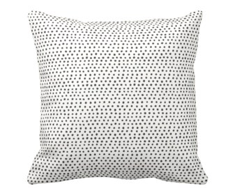 "OUTDOOR Allover Dots Throw Pillow, Black & Ivory Print 16, 18, 20 or 26"" Sq Pillows, Gray/Ebony/Off-White Scatter Dot/Geometric"
