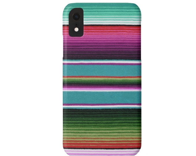 Serape Stripe iPhone XS, Max, XR, X, 7/8, 7/8 P, 6/6S, 6 Plus Snap Case or Tough Protective Cover, Bright Colorful Striped Mexican Print