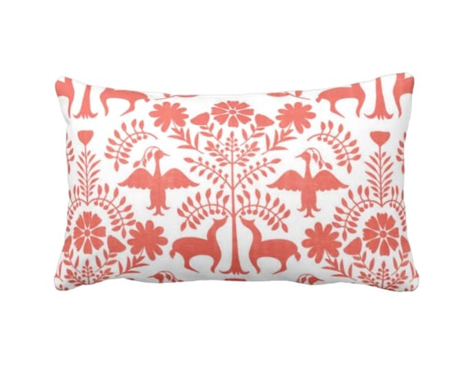 "OUTDOOR Otomi Throw Pillow or Cover, Coral/White 14 x 20"" Lumbar Pillows/Covers, Mexican/Boho/Floral/Animals/Nature Print/Pattern"