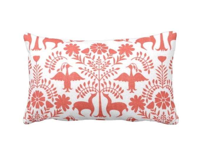 "Otomi Throw Pillow or Cover, Coral/White 14 x 20"" Lumbar Pillows or Covers, Mexican/Boho/Floral/Animals/Nature Print/Pattern"