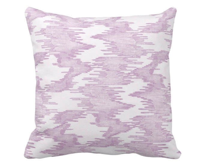 "OUTDOOR Ikat Print Throw Pillow or Cover, Purple/White 14, 16, 18, 20"" Sq Pillows Covers Light Abstract Painted Modern/Lines/Geometric Print"