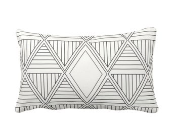 "OUTDOOR Geometric Diamonds Throw Pillow/Cover, Black/Off-White 14 x 20"" Lumbar Pillows/Covers, Tribal/Geo/Triangles/African/Modern Print"