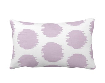 "Ikat Dot Throw Pillow or Cover, Lavender/White 14 x 20"" Lumbar Pillows/Covers, Light Purple Scribble/Dots/Spots/Circles/Polka Print/Pattern"