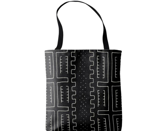 Mud Cloth Geometric Print Market Tote, Black and Off-White African Boho Print Bag
