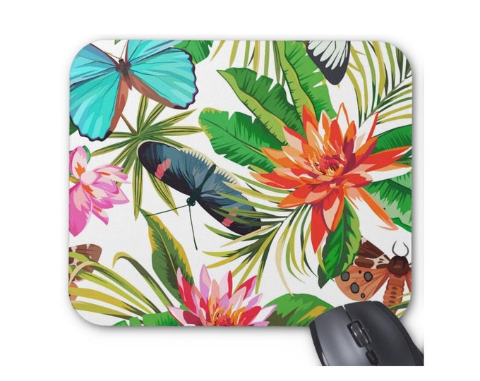 Tropical Print Mouse Pad, Colorful Vintage Floral/Botanical Butterfly Mousepad