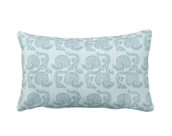 "OUTDOOR Block Print Floral Throw Pillow or Cover, Dusty Turquoise 14 x 20"" Lumbar Pillows or Covers, Blue/Green Flower/Batik/Boho Pattern"