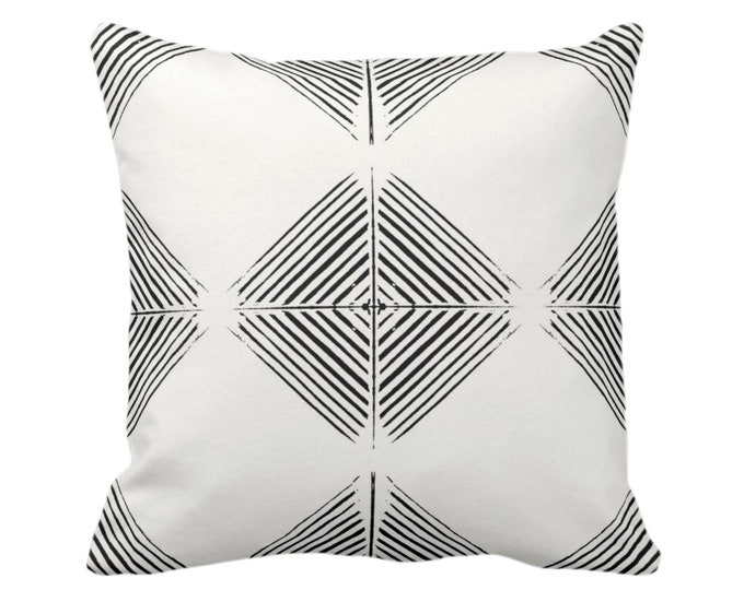"OUTDOOR Tribal Diamond Geometric Throw Pillow/Cover, Black/Off-White Print 16, 18, 20 or 26"" Square Pillows/Covers, Geo/Triangles/Modern"